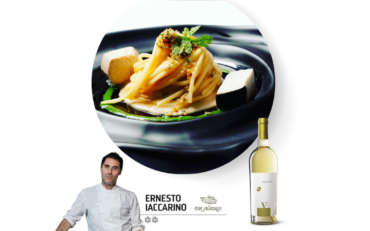 Don Alfonso 1890: spaghetti aglio, olio e peperoncino con palamita in carpione, battuto di pan grattato….