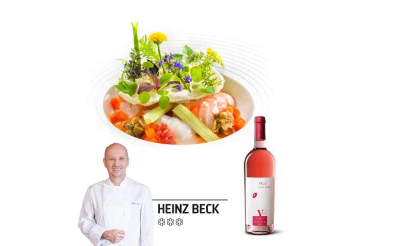 Heinz Beck: Crostacei marinati con peperoni e confettura di cipolle di Tropea